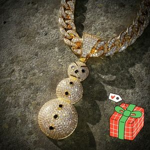 "18"" Iced Out  The SnowMan Necklace Set"